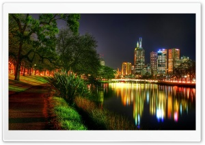 Melbourne At Night HD Wide Wallpaper for Widescreen
