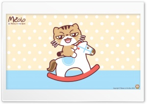 Meolo on Wooden Horse - Meow in the Box HD Wide Wallpaper for 4K UHD Widescreen desktop & smartphone