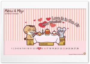 Meolo Valentines Day - Meow in the Box HD Wide Wallpaper for Widescreen
