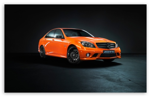Download Mercedes Benz C63 Orange UltraHD Wallpaper