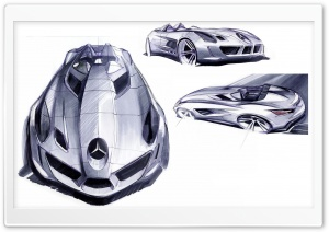 Mercedes Benz SLR Sketches HD Wide Wallpaper for Widescreen