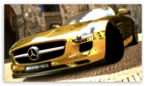 Mercedes Benz SLS AMG Gold HD wallpaper for HD 16:9 High Definition WQHD QWXGA 1080p 900p 720p QHD nHD ; UHD 16:9 WQHD QWXGA 1080p 900p 720p QHD nHD ; Mobile 16:9 - WQHD QWXGA 1080p 900p 720p QHD nHD ;