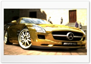 Mercedes Benz SLS AMG Gold HD Wide Wallpaper for Widescreen