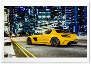 Mercedes-Benz SLS AMG Yellow Car, City Night Ultra HD Wallpaper for 4K UHD Widescreen desktop, tablet & smartphone