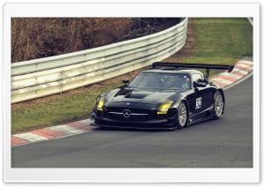 Mercedes Benz SLS On Race Track HD Wide Wallpaper for 4K UHD Widescreen desktop & smartphone