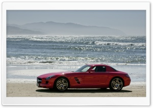 Mercedes Benz SLS On The Beach HD Wide Wallpaper for 4K UHD Widescreen desktop & smartphone