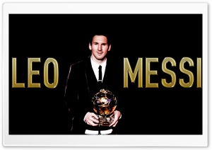 Messi with the Ballon d&#039;or... HD Wide Wallpaper for Widescreen