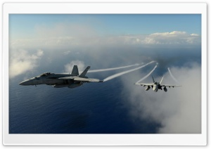 Military Aircrafts Flying Over Pacific Ocean HD Wide Wallpaper for Widescreen