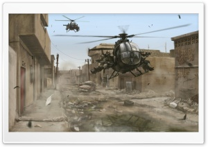 Military Helicopter Artwork HD Wide Wallpaper for Widescreen