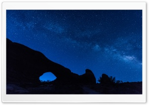 Milky Way Glitters Over Arches National Park, Utah HD Wide Wallpaper for Widescreen