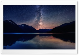 Milky Way Mountains Landscape by Yakub Nihat HD Wide Wallpaper for Widescreen
