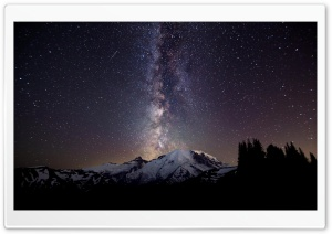 MILKYWAY BEHIND MOUNTAINS HD Wide Wallpaper for Widescreen