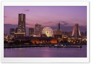 Minato Mirai 21 at Dusk, Yokohama, Japan HD Wide Wallpaper for 4K UHD Widescreen desktop & smartphone