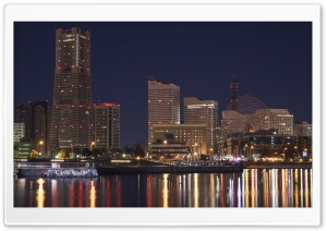 Minato Mirai 21 at Night, Yokohama, Japan HD Wide Wallpaper for Widescreen