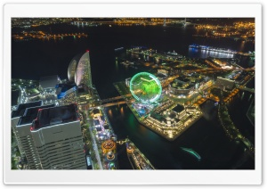 Minato Mirai Aerial View HD Wide Wallpaper for Widescreen