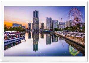 Minato Mirai at dusk, Yokohama Skyscrapers, Japan HD Wide Wallpaper for 4K UHD Widescreen desktop & smartphone