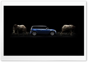 Mini Cooper Drawn By Elephants HD Wide Wallpaper for Widescreen