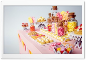 Miniature Candy Dessert Table HD Wide Wallpaper for Widescreen