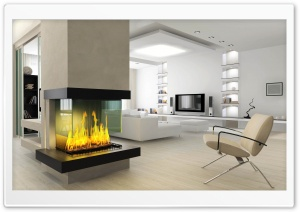 Minimalist Fireplace 3D HD Wide Wallpaper for Widescreen