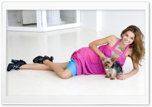 Miranda Kerr And Her Puppy HD Wide Wallpaper for 4K UHD Widescreen desktop & smartphone