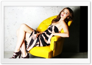 Miranda Kerr In Yellow Chair HD Wide Wallpaper for Widescreen