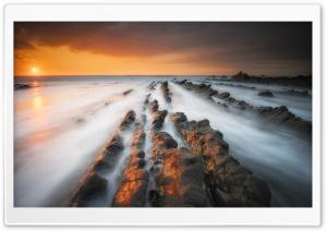Mist, Sea, Rocks, Sunset, Welcombe Ultra HD Wallpaper for 4K UHD Widescreen desktop, tablet & smartphone