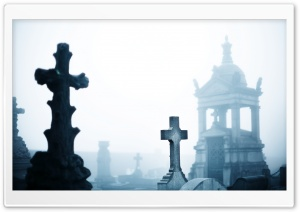 Misty Cemetery HD Wide Wallpaper for 4K UHD Widescreen desktop & smartphone