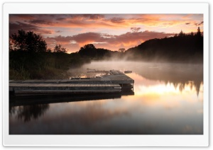 Misty Lake Pontoon HD Wide Wallpaper for 4K UHD Widescreen desktop & smartphone
