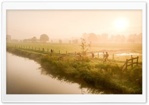 Misty River, Kromme Rijn HD Wide Wallpaper for 4K UHD Widescreen desktop & smartphone