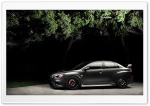 Mitsubishi Lancer X at Night HD Wide Wallpaper for Widescreen
