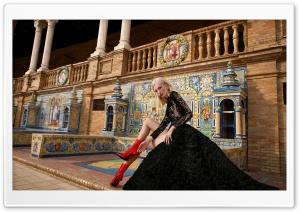 Model, Elegant Black Long Dress, Red Shoes Ultra HD Wallpaper for 4K UHD Widescreen desktop, tablet & smartphone