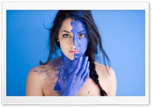 Model with Blue Face Paint HD Wide Wallpaper for 4K UHD Widescreen desktop & smartphone