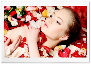 Model With Flower Petals HD Wide Wallpaper for Widescreen