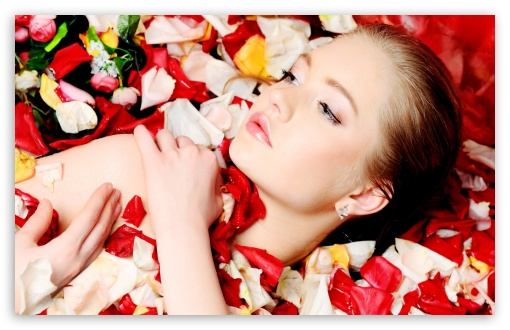 Model With Flower Petals HD wallpaper for Wide 16:10 5:3 Widescreen WHXGA WQXGA WUXGA WXGA WGA ; HD 16:9 High Definition WQHD QWXGA 1080p 900p 720p QHD nHD ; Standard 4:3 3:2 Fullscreen UXGA XGA SVGA DVGA HVGA HQVGA devices ( Apple PowerBook G4 iPhone 4 3G 3GS iPod Touch ) ; iPad 1/2/Mini ; Mobile 4:3 5:3 3:2 16:9 - UXGA XGA SVGA WGA DVGA HVGA HQVGA devices ( Apple PowerBook G4 iPhone 4 3G 3GS iPod Touch ) WQHD QWXGA 1080p 900p 720p QHD nHD ;