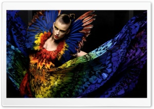 Model With Peacock Dress HD Wide Wallpaper for Widescreen