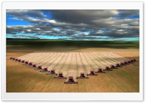 Modern Combines Harvester Working On A Wheat Crop HD Wide Wallpaper for Widescreen
