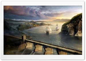 Modern Dam And Old Ships HD Wide Wallpaper for Widescreen