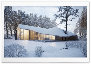 Modern House Design, Winter Landscape Ultra HD Wallpaper for 4K UHD Widescreen desktop, tablet & smartphone