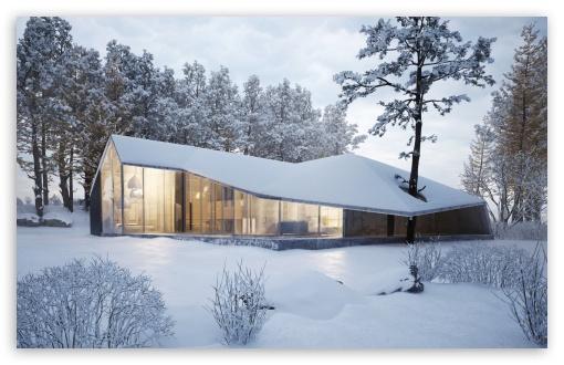 Modern House Design Winter Landscape Ultra Hd Desktop Background