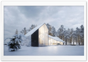 Modern House Design, Winter, Snow HD Wide Wallpaper for 4K UHD Widescreen desktop & smartphone
