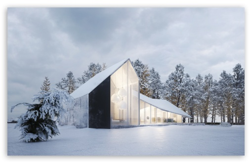 Download Modern House Design, Winter, Snow UltraHD Wallpaper