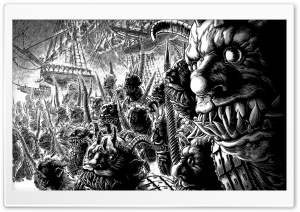 Monsters Drawing Black And White HD Wide Wallpaper for Widescreen
