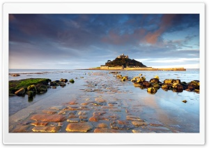 Mont Saint-Michel Island Low Tide Ultra HD Wallpaper for 4K UHD Widescreen desktop, tablet & smartphone