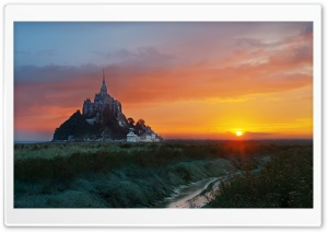 Mont Saint Michel, Sunrise, Landscape Ultra HD Wallpaper for 4K UHD Widescreen desktop, tablet & smartphone