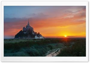 Mont Saint Michel, Sunrise, Landscape Ultra HD Wallpaper for 4K UHD Widescreen desktop, tablet & smartphone