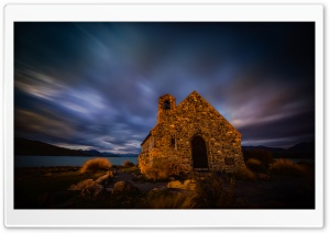 Moody Skies Over the Dark Church HD Wide Wallpaper for Widescreen