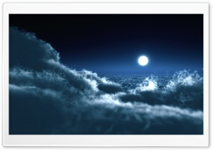 Moon Above Clouds Ultra HD Wallpaper for 4K UHD Widescreen desktop, tablet & smartphone