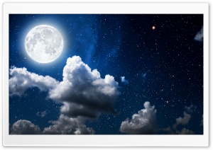 Moon, Clouds, Dark Sky HD Wide Wallpaper for Widescreen
