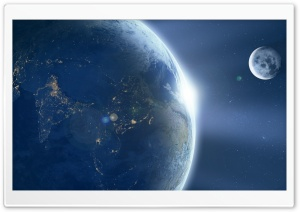 Moon Orbiting Earth HD Wide Wallpaper for Widescreen