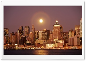 Moon Over New York HD Wide Wallpaper for 4K UHD Widescreen desktop & smartphone